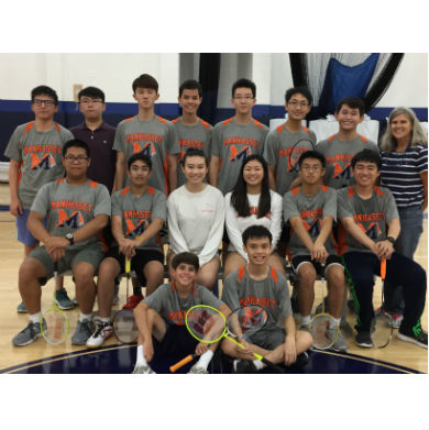 2017 Varsity Boys Badminton Team with Coach Patricia Murphy